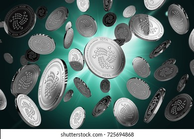 Scattered IOTA coins on a lighted background. Success and growth concept. Perfect for covers, posters, banners and other advertising projects. 3D rendering
