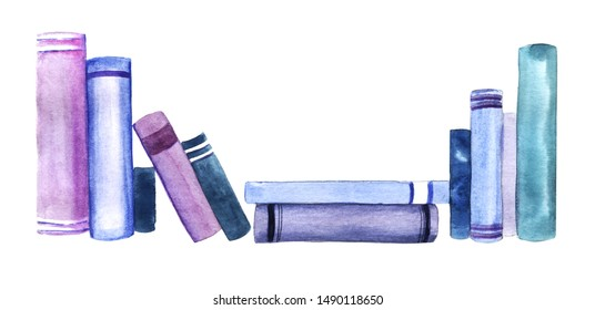 Scattered row of books spines isolated on white background. Watercolor abstract image of books leaning against each other and stacked. Hand drawn illustration on textured paper.