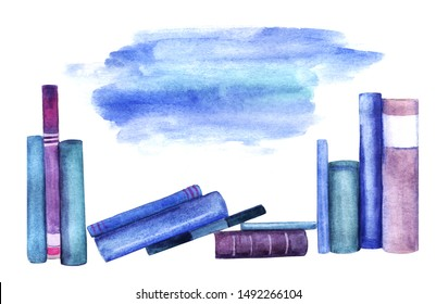Scattered row of books standing spine and isolated on white background. Watercolor abstract image of books leaning against each other and stacked. Hand drawn illustration with space for text