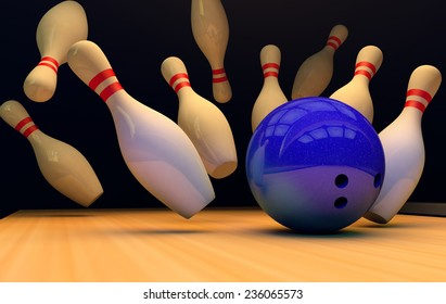 Scattered skittles and bowling ball  .3D