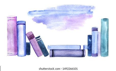 Scattered spine row of blue and purple books isolated on white background. Watercolor abstract image of books leaning against each other and stacked. Hand drawn illustration with place for text