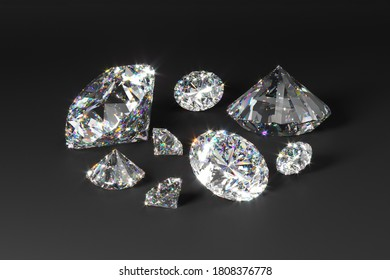 A scattering of diamonds of different sizes on a black background. Exhibition of precious stones. Perfect cut. 3d rendering.
