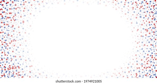 A scattering of red and blue stars on a white background. Celebratory star background.