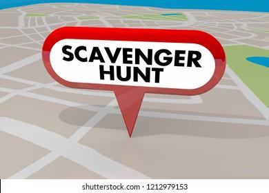 Scavenger Hunt Game Find Hidden Objects Map Pin 3d Illustration