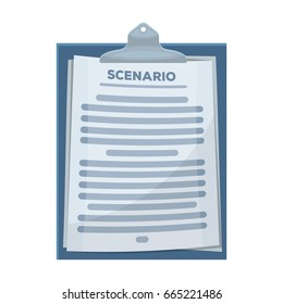 Scenario.Making movie single icon in cartoon style bitmap,rastr symbol stock illustration web.