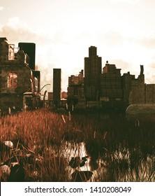 Scene of abandoned city,3d rendering