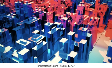 scene of the abstract city. 3D rendering
