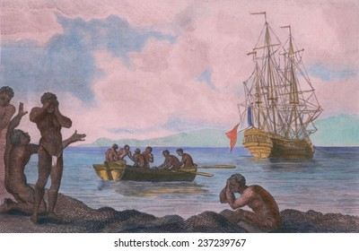 Scene in an African slave trade in which recently purchased slaves are transported to a European ship Slave ships often loaded their cargos gradually.