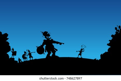 A scene from the bible story of David and Goliath.