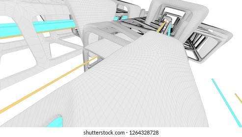 A scene with a cartoonish sci-fi structure. 3D Illustration.