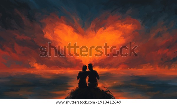 Scene of couple looking heart-shaped clouds , fantasy,valentine day, romantic ,digital art, Illustration painting.