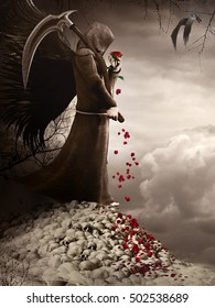 Scene with dark angel holding a red rose and scythe. 3D illustration.