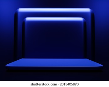 Scene with dark blue color podium for mock up presentation in minimalism style with copy space, 3d render abstract background design