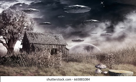 Scene with dry grass, ruined barn and flying saucers. 3D illustration.