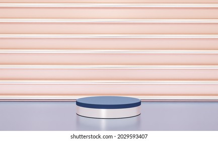 Scene with elegant shiny podium for mock up presentation in minimalism style with copy space, 3d render abstract background design