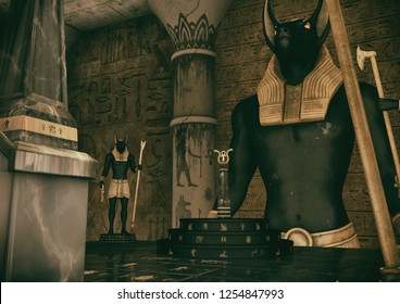 A scene of a fantasy Egyptian temple, and two statues of the God Anubis watching an Ank. 3D Illustration.