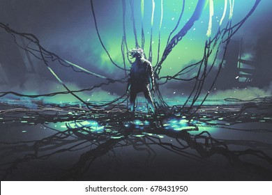 scene of futuristic man with many black cables against dark factory, digital art style, illustration painting