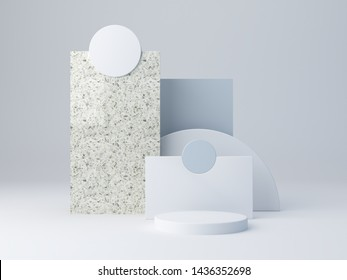 Scene with geometrical forms, abstract blue composition, layers and blue shapes with terrazzo texture.  Blue background. Empty showcase for cosmetic product presentation. Fashion magazine. 3d render.