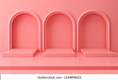 Scene with geometrical forms, arch with a podium in pastel colors, minimal background, pastel platform, 3D render