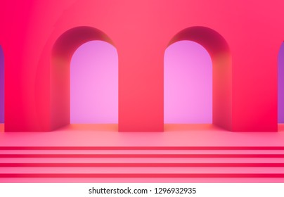 Scene with geometrical forms, arch with a podium in vivid neon pink colors, minimal background, pink background. 3D render.