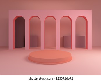 Scene with geometrical forms, archs with a round podium in pastel and pink colors, minimal background, pastel platform, 3D render.
