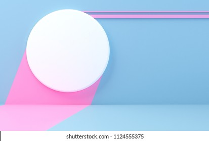 Scene with geometrical forms, color wall, minimal background, a 3D render