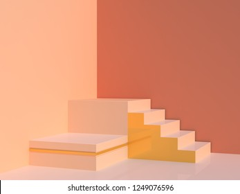 Scene with geometrical forms in pastel cream colors. Stairs and two boxes podium with golden details. Minimal background. 3d render.