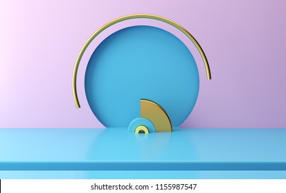 Scene with geometrical forms, round arch, minimal background, pastel platform, 3D render