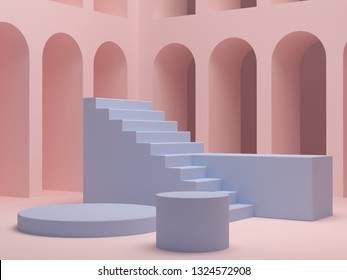 Scene with geometrical forms to show cosmetic products. 3d abstract minimal background. Empty blue platform, podium, stais and pink arches in the background. Trendy mock up. Pastel colors. 3d render
