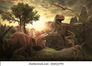 scene of the giant dinosaur destroy the park. 3D Render Photo.