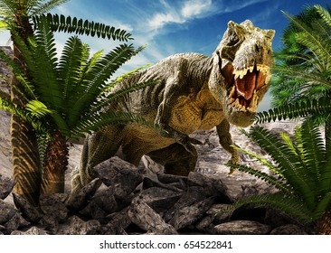 scene of the giant dinosaur destroy the park. 3D Render Photo.