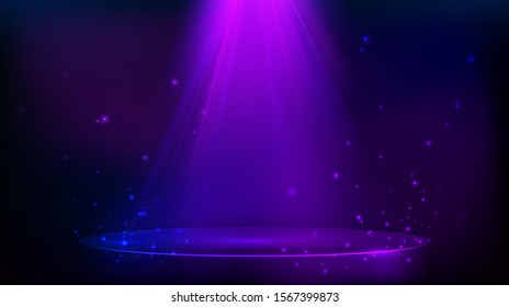 Scene illuminated with purple light. Magic party background with glitter particles. illustration