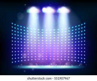 scene illumination show, bright lighting with spotlights, floodlight disco raster version illustration