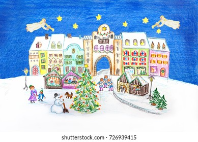 scene - little town with christmas market place. angels playing the trumpet. hand drawn with crayons.