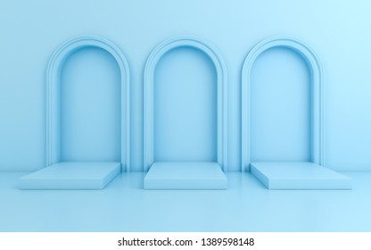 Scene with minimal background, arch with a podium, 3d render