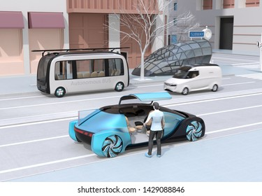 Scene of modern urban transportation style. People using smartphone to request a ride sharing, autonomous bus in bus stop. Electric minivan moving on the road. Subway entry near to the intersection. 3