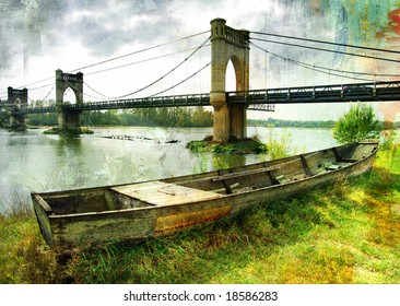 scene with old boat and bridge - picture in painting style