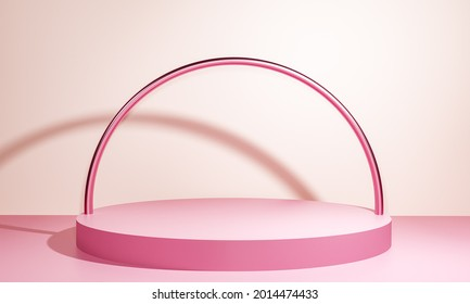 Scene with pink color podium for mock up presentation in minimalism style with copy space, 3d render abstract background design