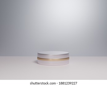 Scene with podium for mock up presentation in white color and minimalism style with copy space, 3d render abstract background design