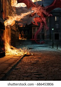 Scene with red dragon and blazing building on the street of old town. 3D illustration.