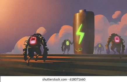 scene of robots with energy status tries to charging battery at the station, illustration painting