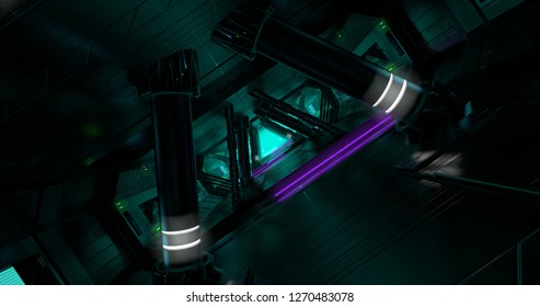 A scene of a sci-fi spaceship with an inclined view. 3D Illustration.