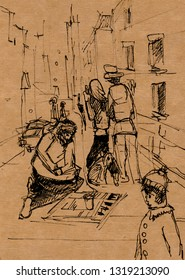 scene from street life, beggar and dog