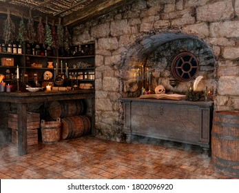 Scene of a witch room, with skulls, crystal balls, candles, herbs, and mists. 3D Illustration.