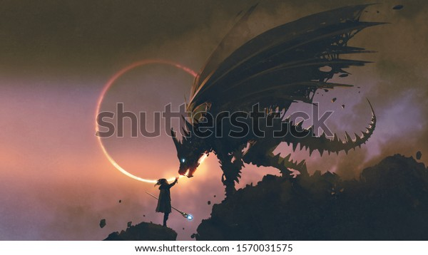 scene of the wizard reaching hand out to his dragon standing on the rock, digital art style, illustration painting