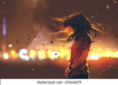 scene of woman with cracked effect on her body against defocused lights, digital art style, illustration painting