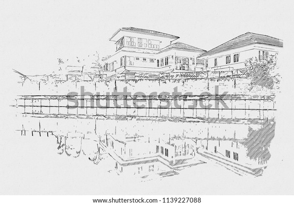 Scenery Home Pencil Sketch On Paper Stock Illustration