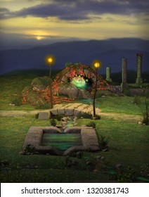 Scenery of the magical Fountain of Youth, a spring that supposedly restores the youth of anyone who drinks or bathes in its waters, 3d render painting