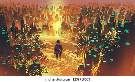 scenery of a man in the enchanted swamp with weird plants, digital art style, illustration painting
