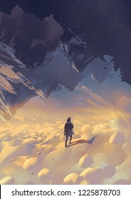 scenery of surreal world showing a man walking on clouds looking at upside-down mountains, digital art style, illustration painting
